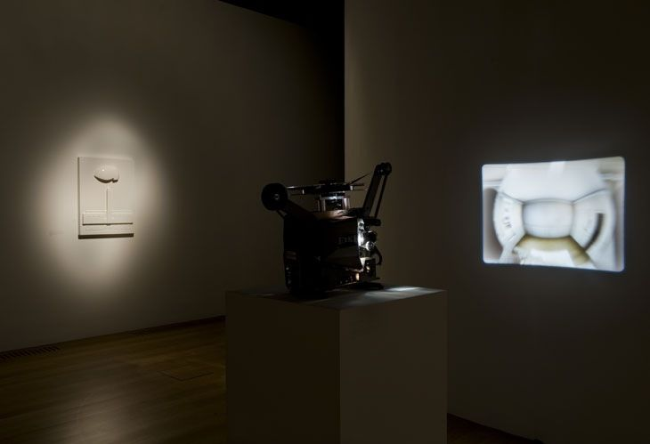 Installation view of Turner Prize 2008 featuring Mark Leckey Cinema in the Round 2007 and Made in Eaven . Won 2008