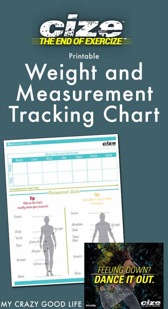 Use this Cize weight and measurement tracking chart to record your progress while using the CIZE fitness and dance program!