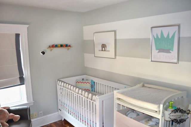 20 Trendy Bedrooms With Striped Accent Walls: King Of All Wild Things {completed Nursery}, Grey And