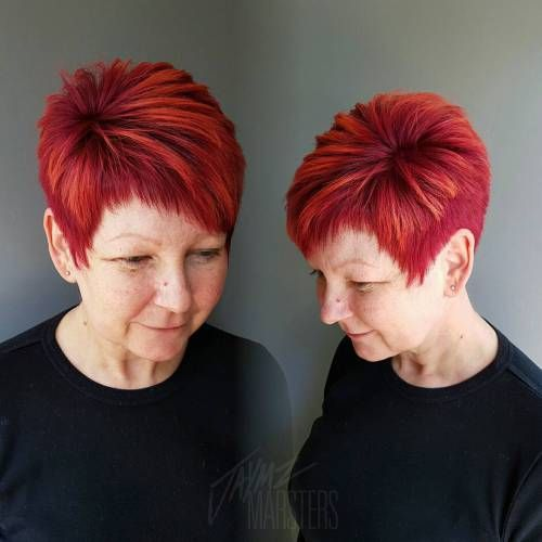 Asymmetrical Choppy Red Pixie, so fun! Would want some spikes.