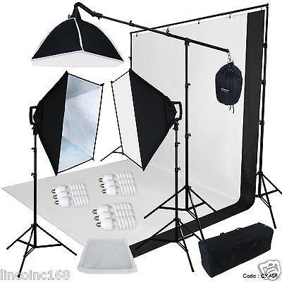 9x13 BW Backdrop Support Stand Photography Studio Video Softbox Lighting 3Kit                                                                                                                                                                                 More