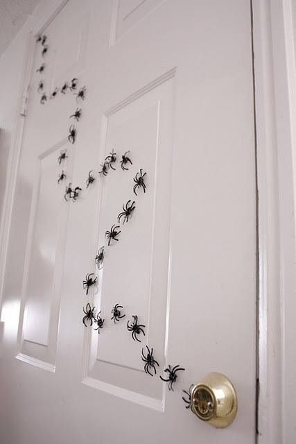 Tape spiders on the wall for spooky party decor - Michelle will not be coming. . . but could be hilarious if nobody told her. . .