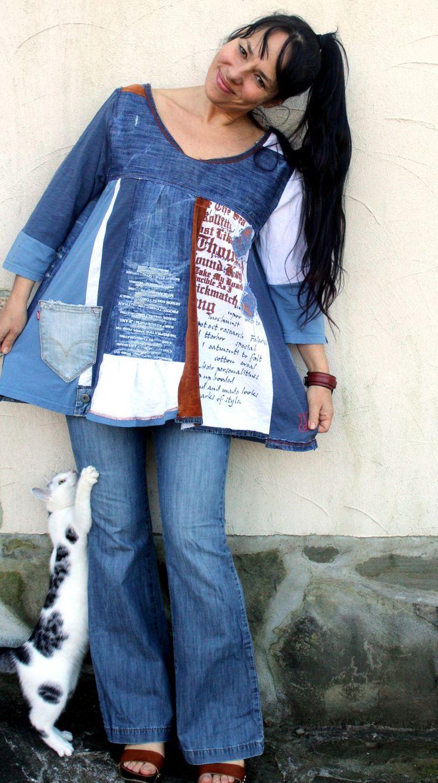 Pop art denim recycled dress tunic hippie boho by jamfashion