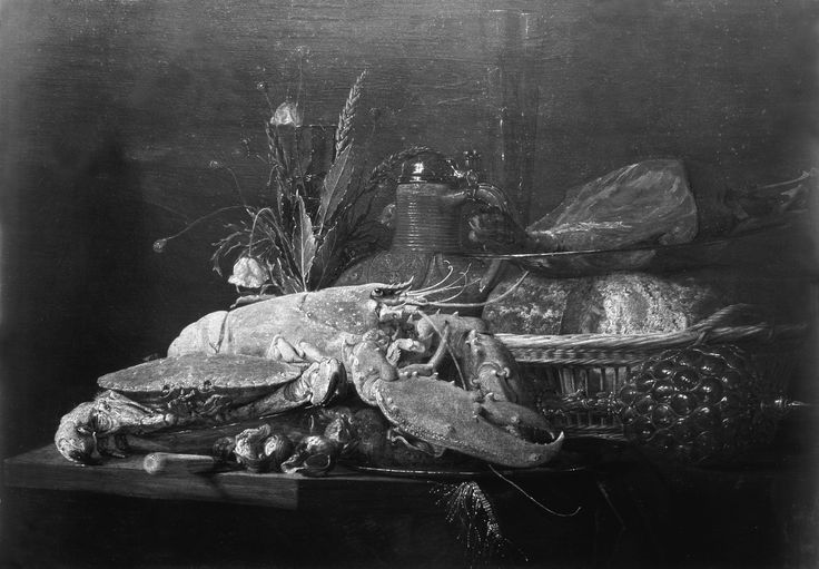 """Dutch School (17th century), """"Lobster, Crab, Fish, and Other Objects of Still Life,"""" undated. Oil on panel, 22 1/2 x 32 in. Photographed in March 1927 when on the art market in London. The Frick Collection / Frick Art Reference Library Photoarchive. #fricklibrary #foodies #still_life #lobster #Dutch_still_life"""