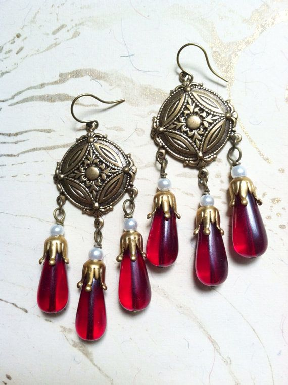 Antiqued Brass Garnet Chandelier Earrings Bridal by MinouBazaar, inspired by Draupadi, from the Mahabharata.
