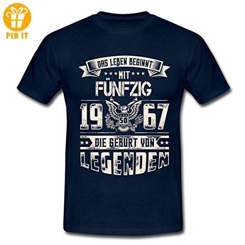 50. Geburtstag 1967 Geburtsjahr Legenden Spruch Männer T-Shirt von Spreadshirt®, XL, Navy - T-Shirts mit Spruch   Lustige und coole T-Shirts   Funny T-Shirts (*Partner-Link)