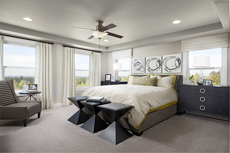 Geometric furnishings add interest to this master bedroom | Daley model home | Covington, WA | Richmond American Homes