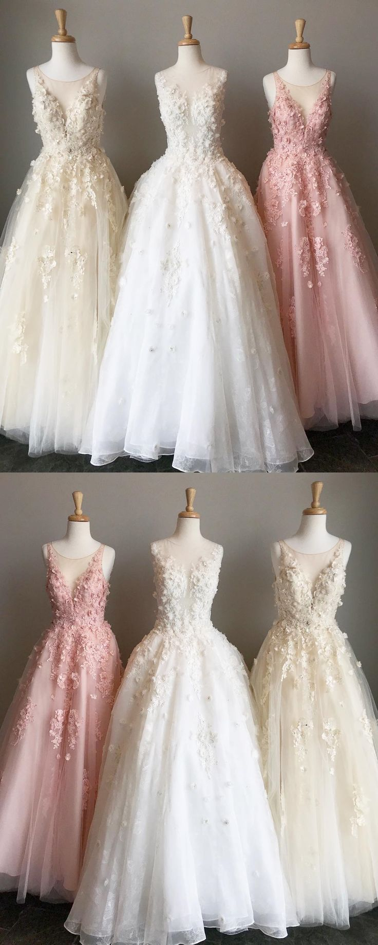 modest pink long prom dresses with appliques, elegant light champagne tulle party dresses, chic round neck white evening gowns