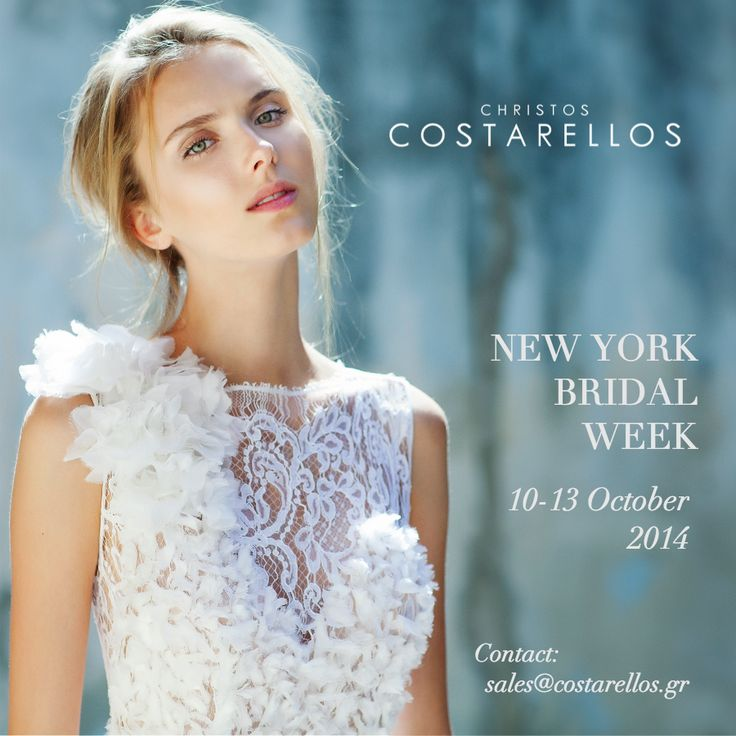 Join us in New York from 10-14 October for the preview of our Bridal 2015 Collection! Showroom: 5 16th Street (4th floor), 5th Ave./Union Sq. For more information and appointments please contact us at sales@costarellos.gr or call 210 7210441. #bridalmarket #bridalfashion #bridalweek #newyork