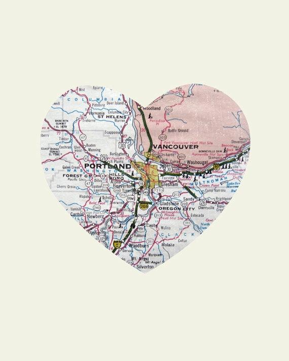 Portland Oregon Art City Heart Map -