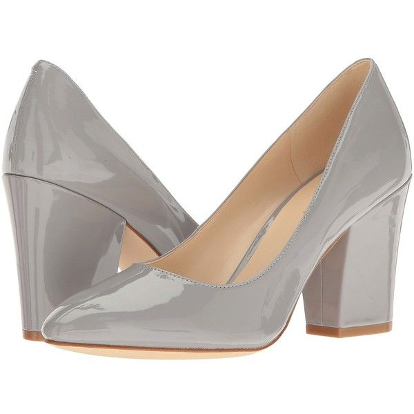Nine West Scheila (Grey Patent) High Heels ($71) ❤ liked on Polyvore featuring shoes, pumps, almond toe pumps, nine west pumps, grey patent leather pumps, gray pumps and gray shoes