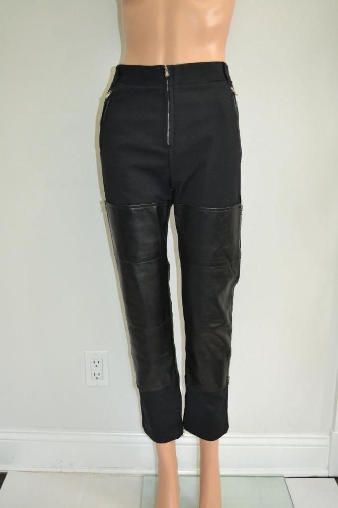 3.1 Phillip Lim Black Cotton w/ Leather Overlay Zippered Detail Pants, Sz 8 #31PhillipLim #StraightLeg