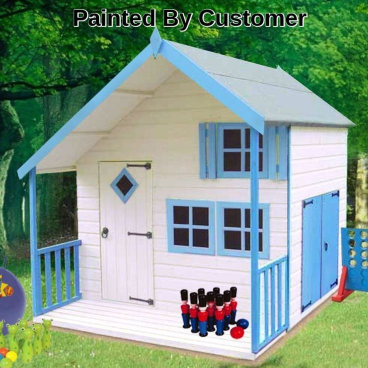 This playhouse has everything: a lounge, a bedroom and a garage with double doors. Only for play of course. It is made from high grade FSC approved Northern European pine and the joinery windows and door are all mortise and tenon jointed. It complies with EN71 the safety standard and carries the CE mark. It is finished in a honey brown base coat treatment for painting by the customer on installation. The painted model shown is for illustration only. (Imperial dimensions are approximate…