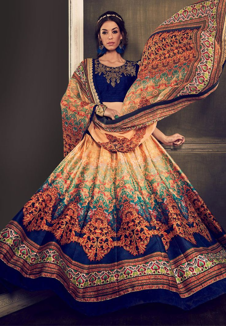 Digital Printed Art Silk Circular Lehenga in Cream and Blue