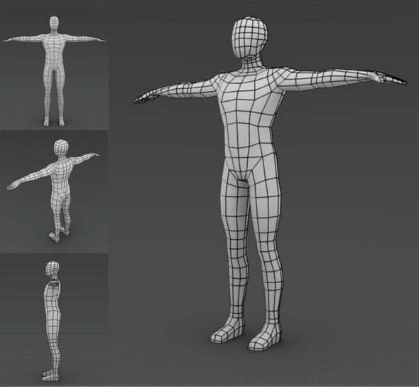 low poly male base mesh topology
