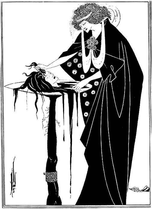 Oscar Wilde Aubrey Beardsley - Peacock Skirt Illustration for Salome - Small - Archival Matte - Brown Frame TpwoFIzrcy