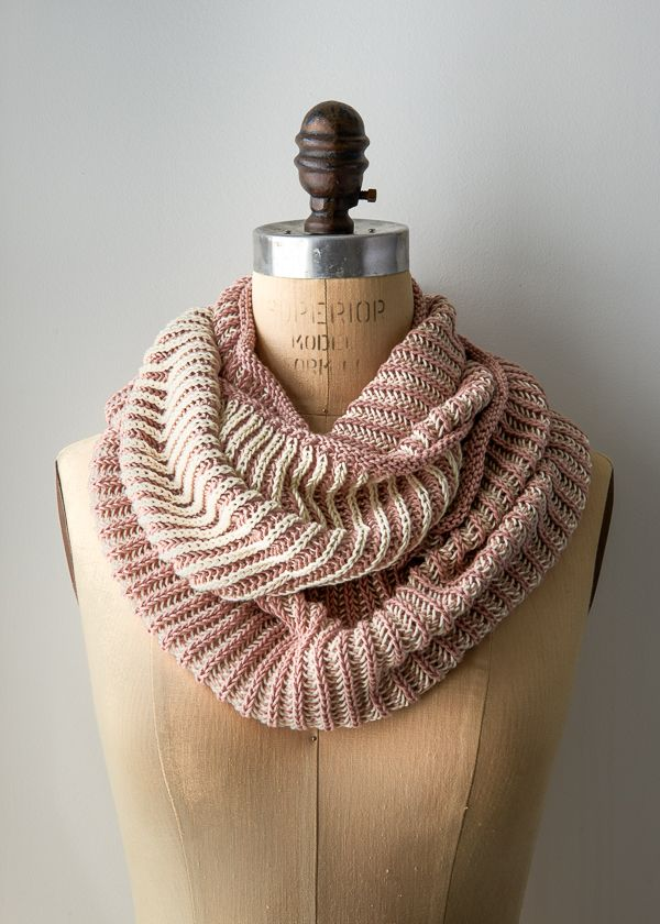 Two-Color Cotton Cowl  ::  purlsoho.com :: Sport weight: 5.75 - 6.5, Circular 4 and 6 needles