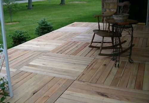 DIY pallets decks = stunning garden patio deck design :: www.finecraftguild.com
