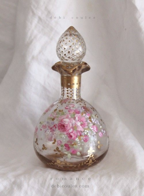 French Roses Fleur-de-lis Vintage Perfume Bottle hand painted, is available at www.debicoules.com