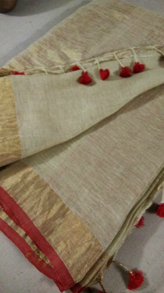 Linen saree with gold border
