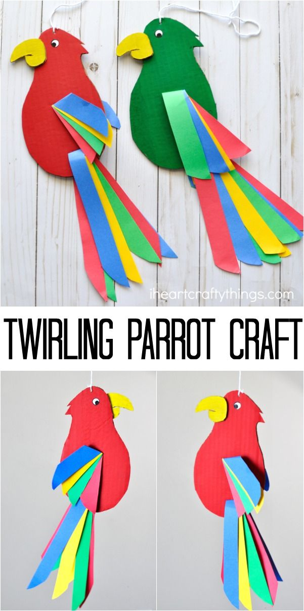 Colorful and fun twirling parrot craft for kids.
