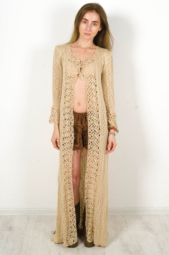 Crochet beige cardigan, crochet dress lace nude cardigan, Maxi Summer dress Handmade Cardigan Crochet Wraparound Cardigan Cross over dress