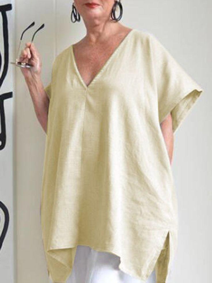 Casual Solid Color V-neck Irregular Split Plus Size Blouse 15