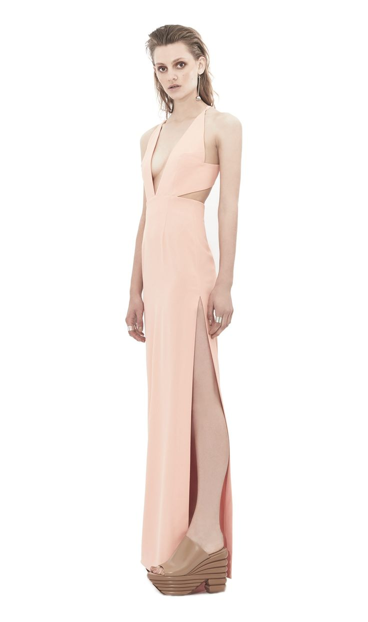 Hall | Peach Contemporary Maxi Dress by Solace London