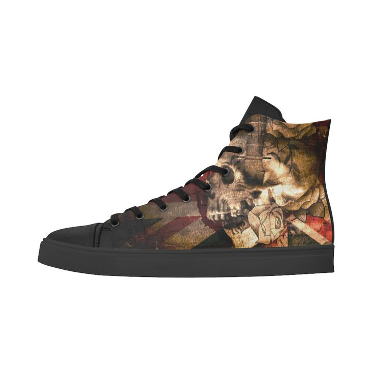 Grunge Skull and British Flag Andromeda High Top Action Leather Women