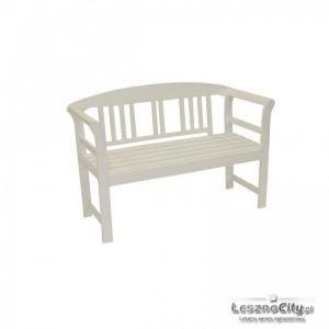 Drewniana Biała Ławka ogrodowa do Restauracji