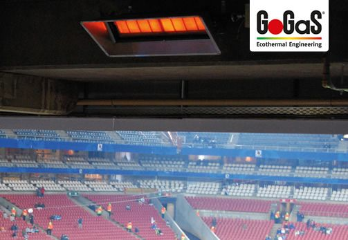 GoGaS Stadium heating: Comfortable heat without long  lead times from only 0,02€ per match and seat. For further information visit www.gasstrahler.de or www.tribuenenheizung.de.