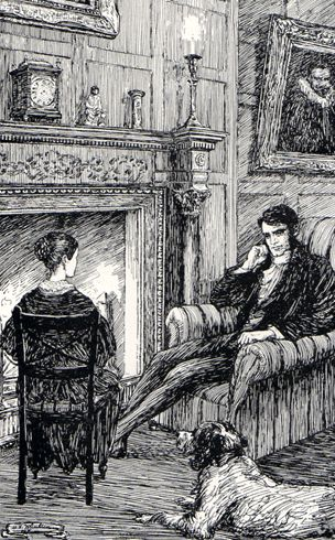 'Mr. Rochester, as he sat in his damask-covered chair, looking different to what I had seen him look before'  Illustration from 'Jane Eyre'  by M.V. Wheelhouse, early 20th century illustrator.