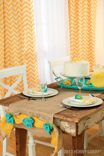 Brighten up your dining room with burlap in shades of sunshine yellow and robin's egg blue.