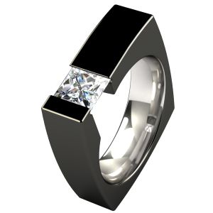 Ultima Titanium mens Ring. Sleek and modern ! Choose all-natural titanium, or the glossy black diamond finish that contrasts with the gemstone for an eye-catching combination