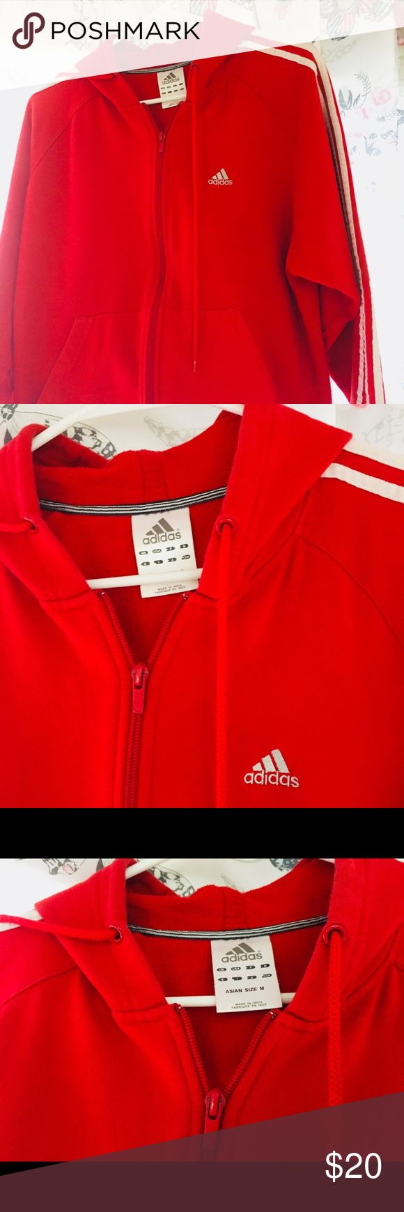 Valentines Red-Adidas hoodie Size M Adidas Red color Size M, very soft cotton, perfect for this season adidas Sweaters Zip Up