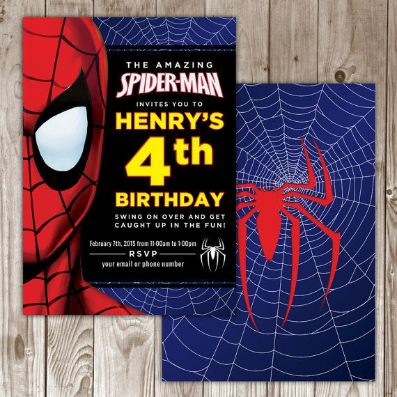 Spiderman Birthday Invitation by WildTreeBoutique on Etsy