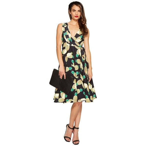 Unique Vintage Pineapple Wrap Dress (Black Print) Women's Dress ($47) ❤ liked on Polyvore featuring dresses, vintage day dress, sleeveless fit and flare dress, pineapple dress, v neck fit and flare dress and vintage print dress