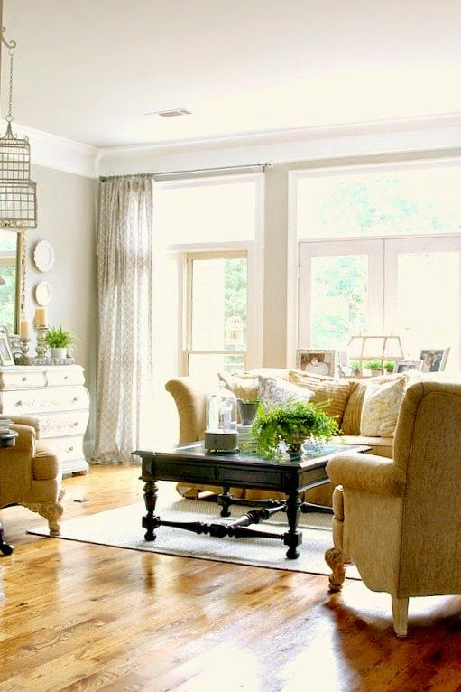 Pretty Summer Living Room Using Grey And Tan Colors From Top This Top That    Faux Crown Molding With Plain Crown Molding Base