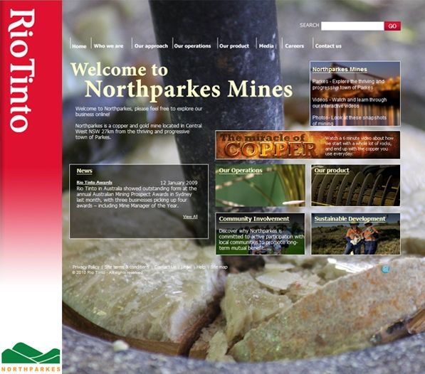 The Northparkes Mines website is a satellite site for Rio Tinto that provides specific information about the mining are around the New South Wales town of Parkes. Exa developed a professional website that has effectively communicated specific information about the organisation in a simple and clear manner.
