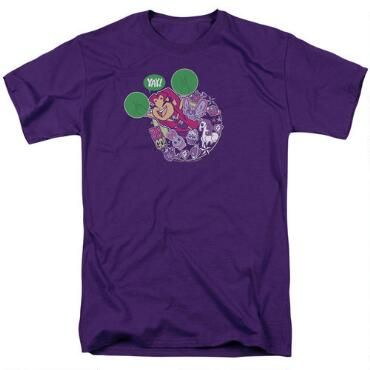 The shirt features your favorite pint size hero, Starfire from the animated series, Teen Titans Go.