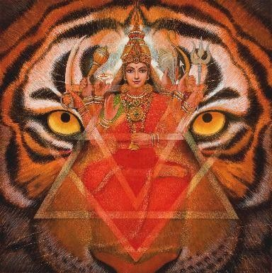 """Hindu Goddess Art """"Durga's Tiger"""" signed meditation poster by Sue Halstenberg"""