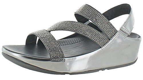 8f068988d FitFlop Womens Crystall Z-Strap Pewter Sandal - 9