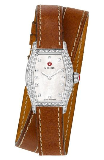MICHELE 'Urban Coquette' Pavé Diamond Watch Case & 12mm Leather Wrap Strap  available at #Nordstrom