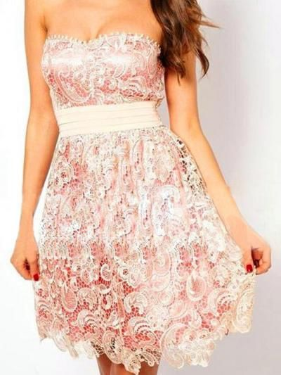 Apricot Strapless Hollow Laced Embroidery Belt Dress