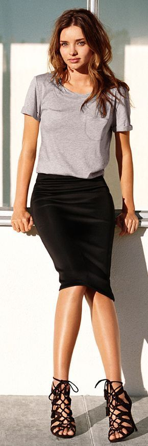 Minimal trends | Casual grey t-shirt, black pencil skirt, strapped heels