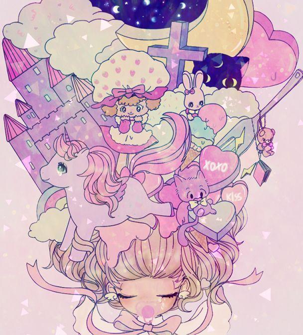✮ ANIME ART ✮ pastel. . .toys. . .moon. . .stars. . .hair. . .pacifier. . .ribbon. . .cute. . . kawaii