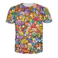 Wish | New Fashion Women's/Men's Original 150 Pokemon 8-Bit Collage 3D Print Casual T-shirt