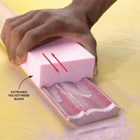 Great tip; I've often wondered how I'd refinish my baseboards.  Make a custom sanding block to speed up sanding of complex shapes.Rub a block of rigid foam insulation over the sandpaper until it conforms to the molding's profile.Coat the foam block and the back of the sandpaper with spray adhesive. Carefully stick the sandpaper to the block and sand the molding.