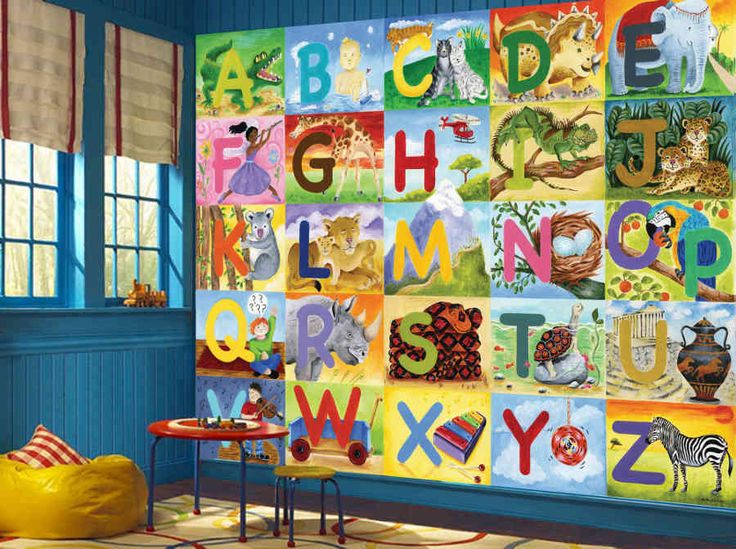 Abc wall mural for kids bedroom and kindergarten for Classroom wall mural