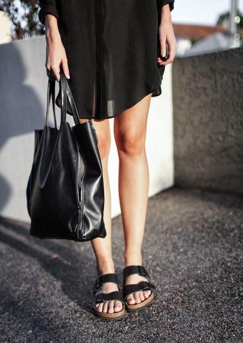 Black birks + mini dress